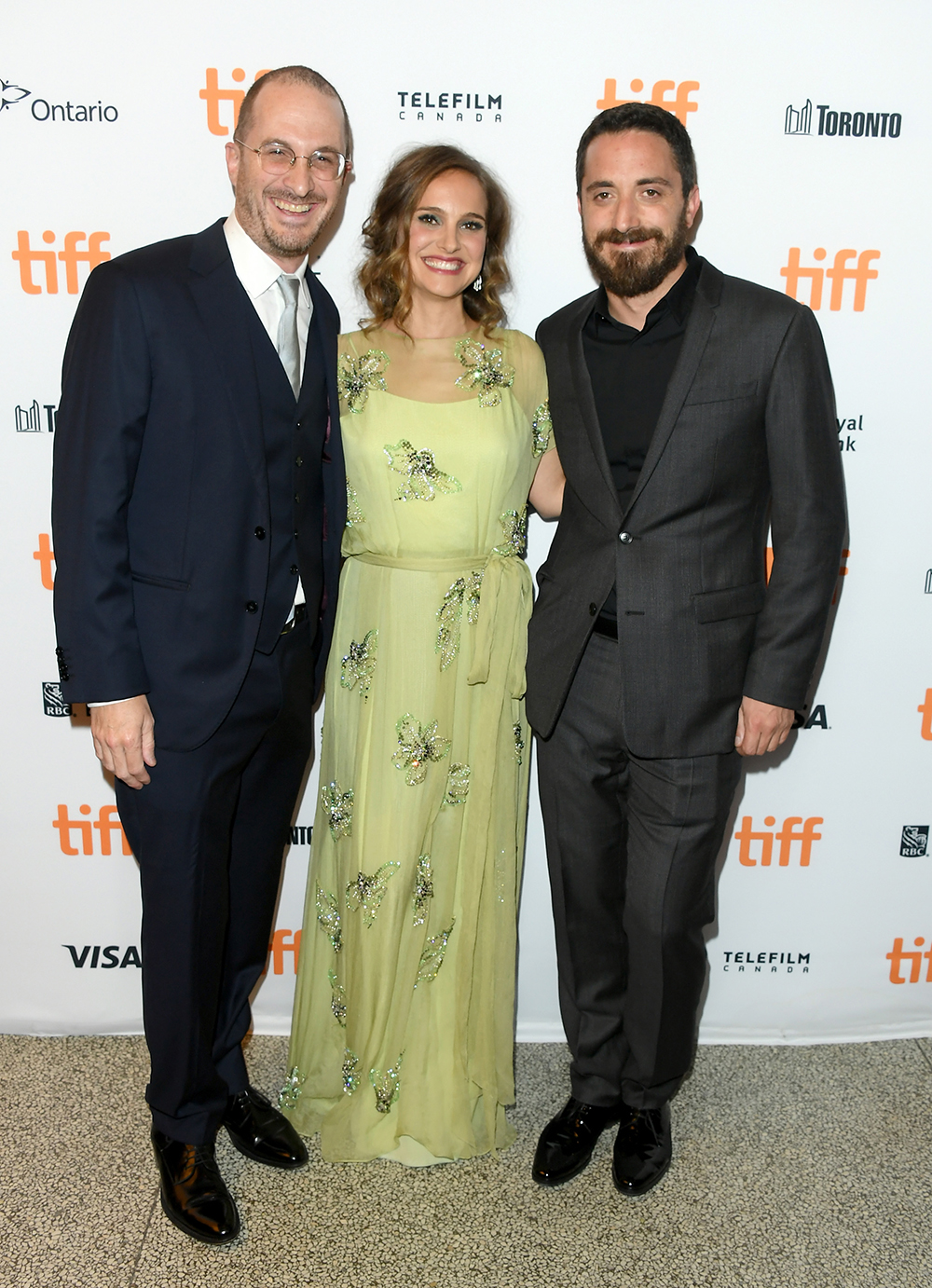 "Darren Aronofsky, actress Natalie Portman and director Pablo Larraín attend the ""Jackie"" premiere during the 2016 Toronto International Film Festival at Winter Garden Theatre on September 11, 2016 in Toronto, Canada. (Photo by George Pimentel/WireImage)"