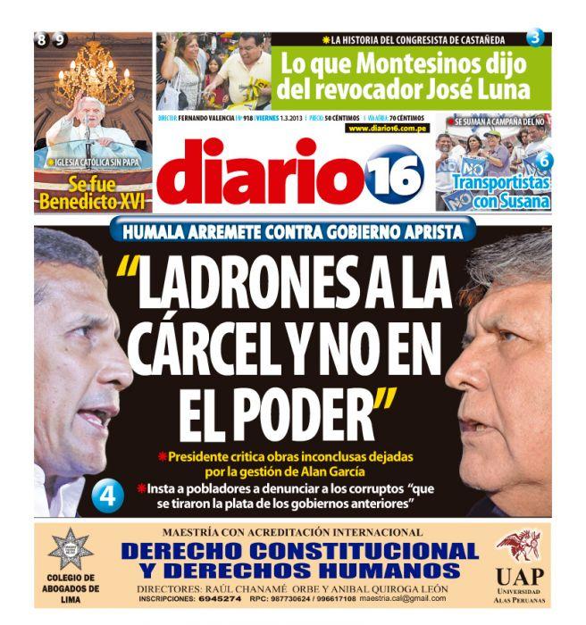 Aquí uno de los medios de la derecha haciendo campaña contra él. Imagen: Portada diario 16.