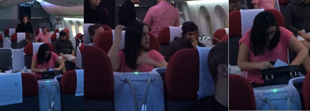 Verónika Mendoza en el avión. Imagen: Facebook
