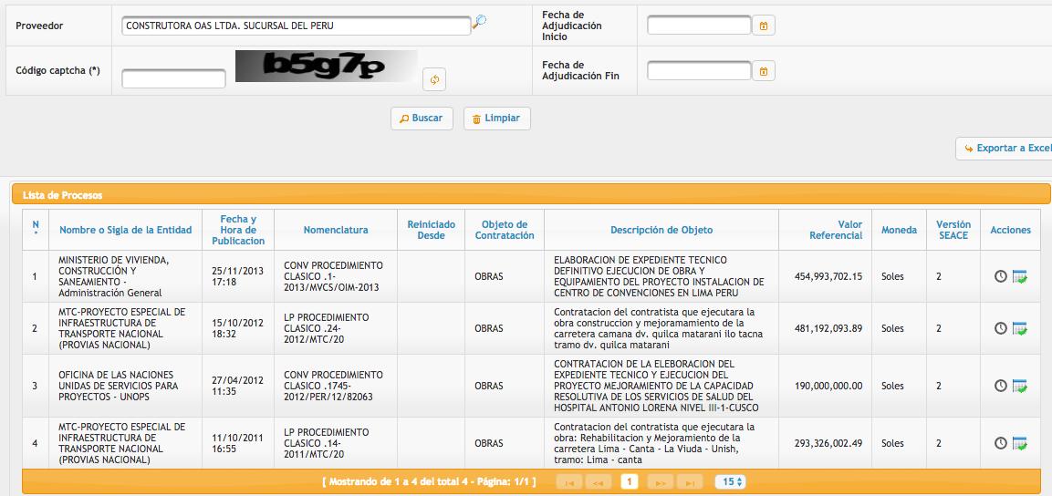 Estas son las contrataciones con OAS y el Estado peruano. No figura la MML. Imagen: captura SEACE