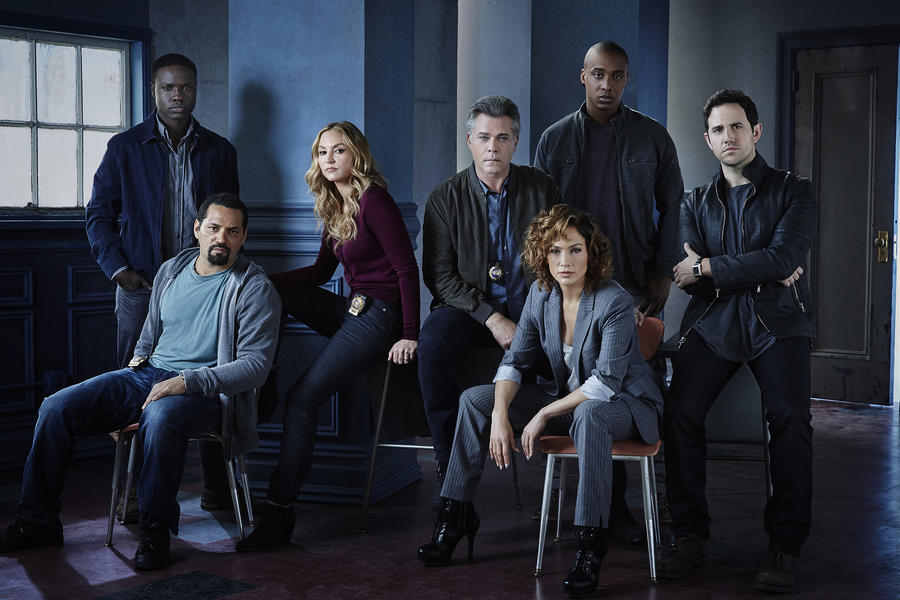 SHADES OF BLUE -- Season: 1 -- Pictured: (l-r) Vincent Laresca as Tony Espada, Dayo Okeniyi as Michael Loman, Drea de Matteo as Tess Nazario, Ray Liotta as Bill Wozniak, Jennifer Lopez as Harlee Santos, Hampton Fluker as Patrick Tufo, Santino Fontana as David Saperstein -- (Photo by: Jeff Riedel/NBC)