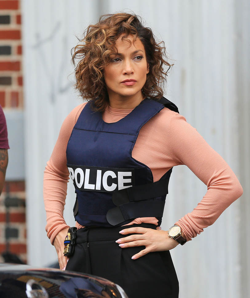 Jennifer Lopez dons a bulletproof vest on the filmset of her TV show 'Shades of Blue' in Bklyn, NY Pictured: Jennifer Lopez Ref: SPL1133809 220915 Picture by: XactpiX/Splash Splash News and Pictures Los Angeles:310-821-2666 New York:212-619-2666 London:870-934-2666 photodesk@splashnews.com