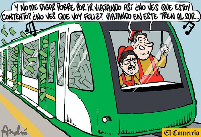 Tren al sur, chú chú chú.  Caricatura de Andrés Edery para El Comercio