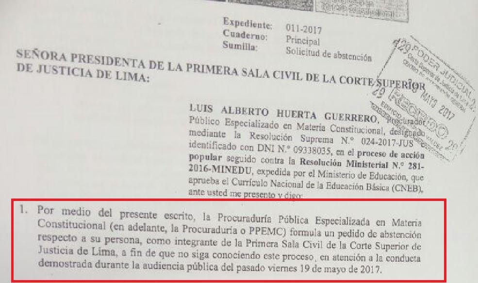 Imagen: El pedido para que la jueza se inhiba del caso. Imagen: Útero.pe