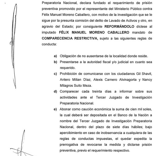 Estas son las reglas de conducta que deberá seguir Moreno cuando salga en libertad. Fuente: Ojo Público