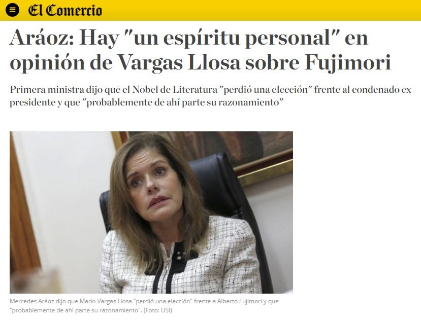 Primera ministra y vicepresidenta del Perú sobre las declaraciones de Vargas Llosa ante la posibilidad de darle un indulto a Alberto Fujimori. Fuente: Captura web El Comercio