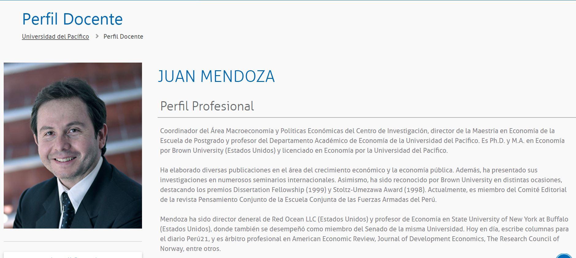 Juan Mendoza es profesor en la Universidad del Pacífico, quienes aún no se pronuncian al respecto. Imagen: UP