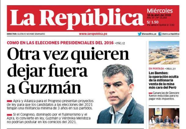 A esa portada le falta la foto (del mismo tamaño) de Verónika Mendoza, pero eso lo dejaremos para otra discusión. Imagen: La República
