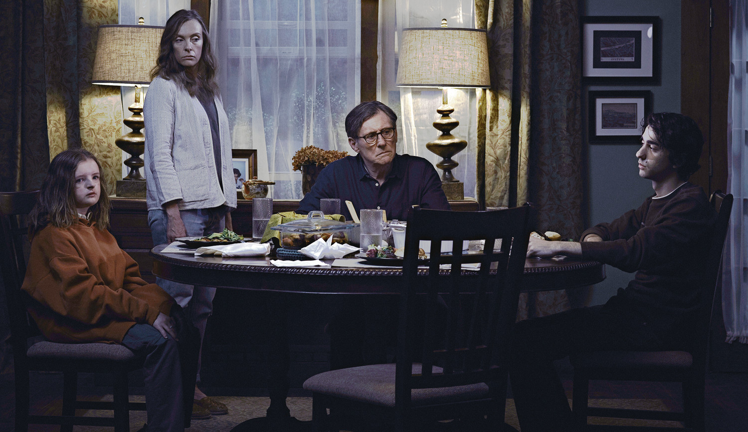 "A24 From left are Milly Shapiro, Toni Collette, Gabriel Byrne, and Alex Wolff in a scene from ""Hereditary."""