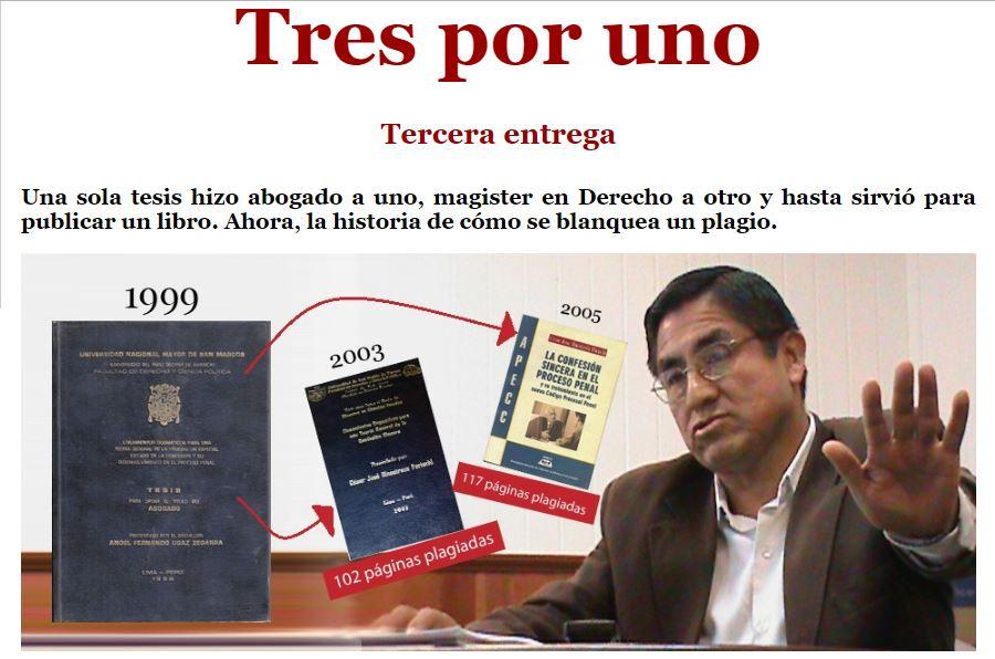 La tesis de licenciatura del abogado Fernando Ugaz sirvió para que el juez César Hinostroza, aspirante a fiscal supremo, obtuviera el grado de magíster en ciencias penales (2003), Imagen: captura IDL