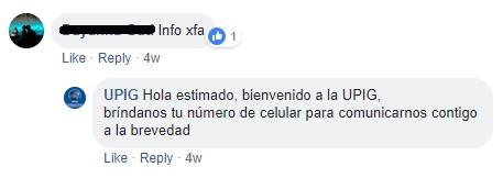 """""""Bienvenido a la UPIG"""". Foto: Captura / Facebook / UPIG"""