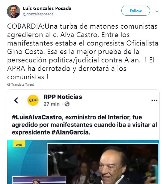 Imagen: Twitter de Gonzales Posada