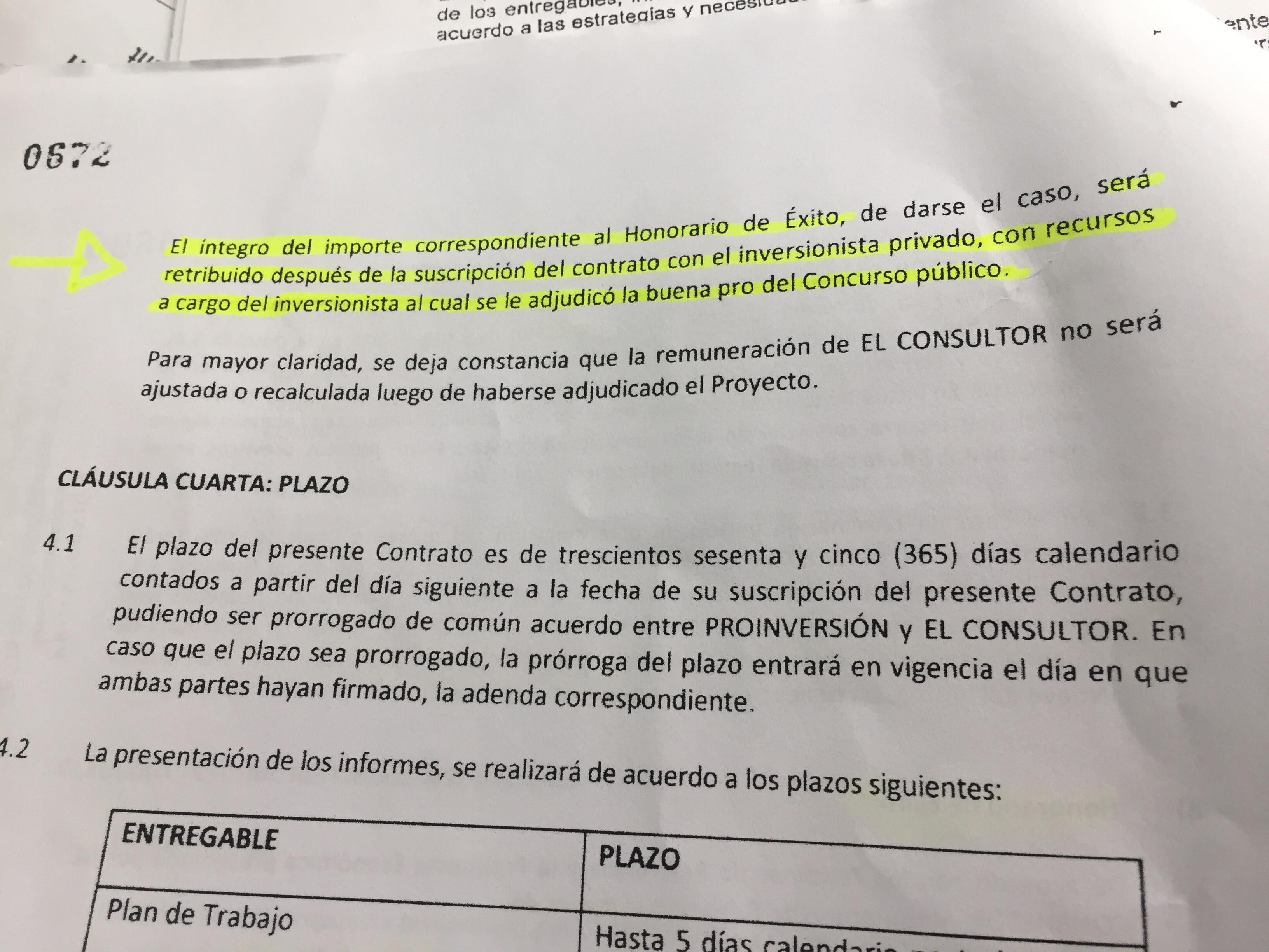 Fíjense en lo que dice el contrato. La interpretación auténtica de Proinversión. Imagen: Útero.Pe