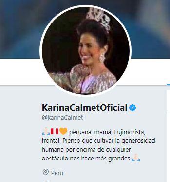 "Primer cambio de descripción: ""peruana, mamá, Fujimorista, frontal"". Foto: Captura / Twitter"