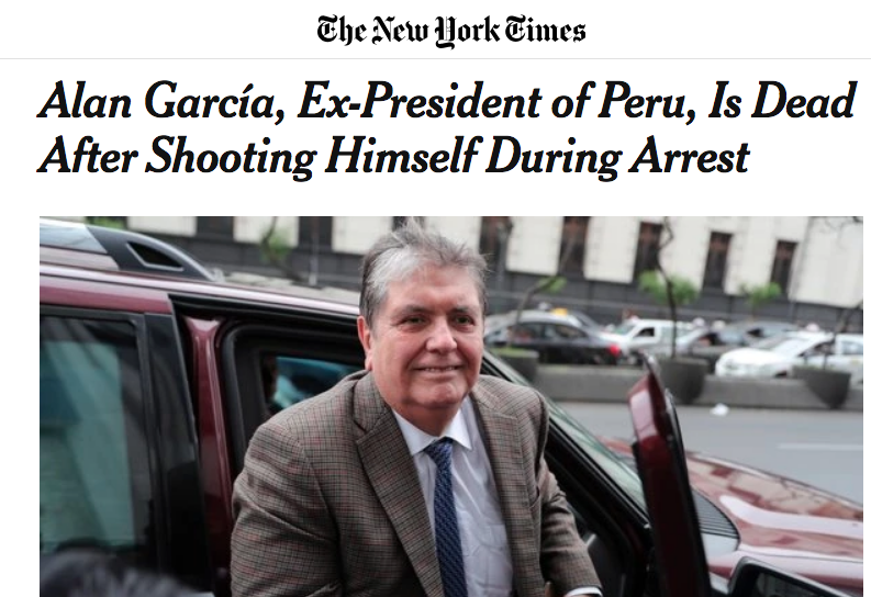 """""""Alan García, expresidente del Perú, murió luego de dispararse durante arresto"""".  Imagen: captura web"""