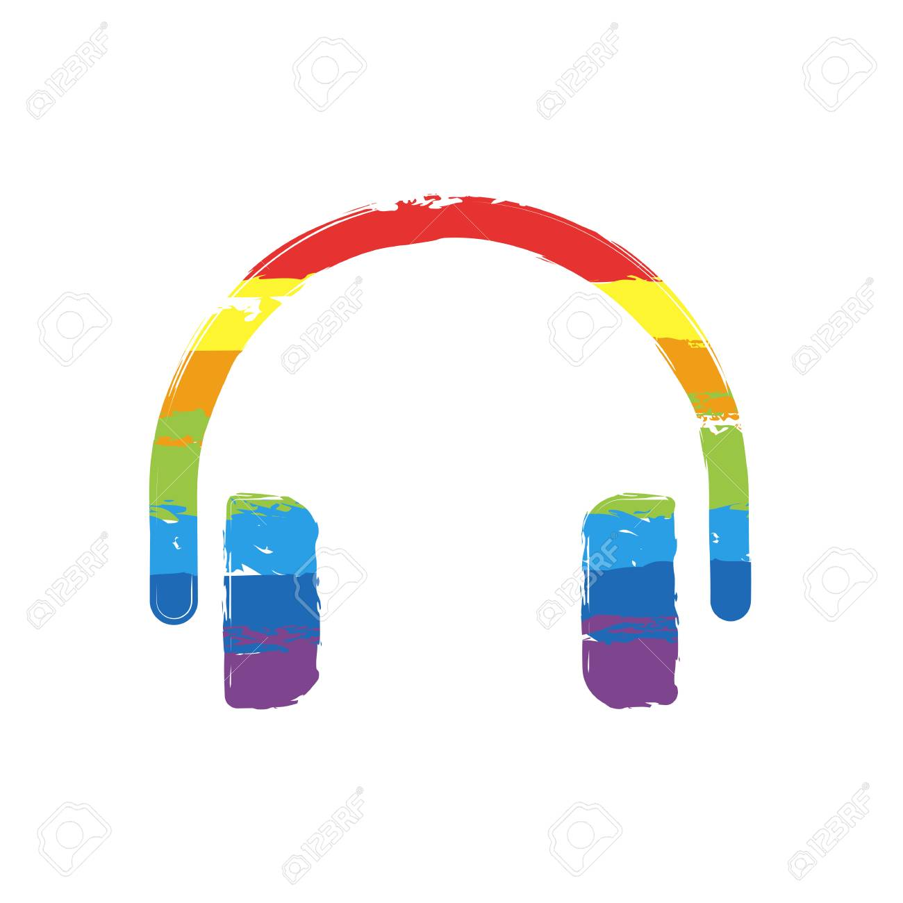 Simple headphones icon. Drawing sign with LGBT style, seven colors of rainbow (red, orange, yellow, green, blue, indigo, violet