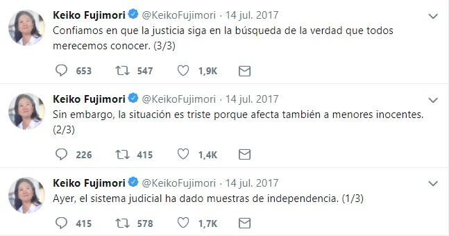 """Cuando Keiko celebraba """"la persecución política"""" de la justicia peruana. Imagen: Captura de Twitter"""