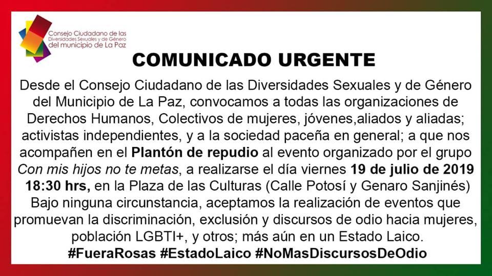 Convocado por el Consejo Ciudadano de las Diversidades Sexuales y de Gènero del Municipio de la Paz. Foto: Facebook