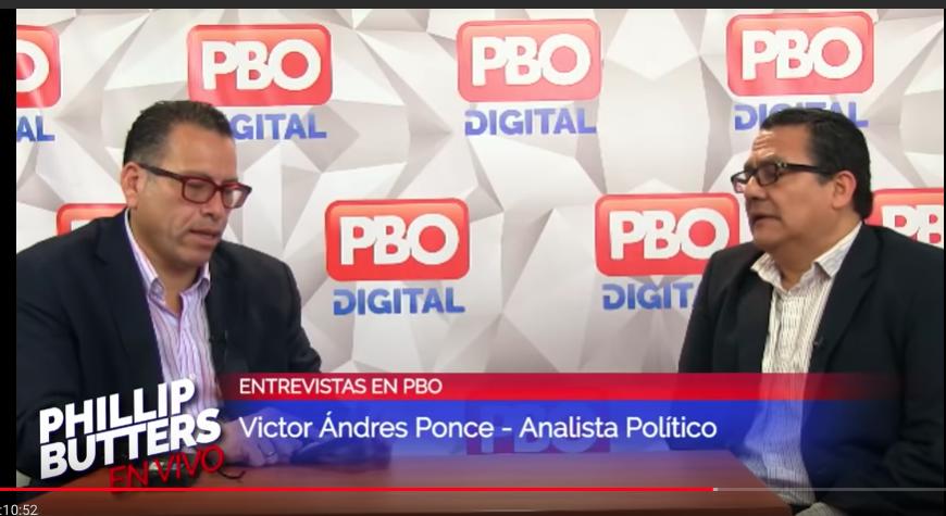 Aquí Víctor Andrés Ponce entrevistado en el programa de Butters y presentado como analista político. Imagen: YouTube