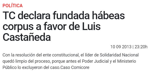 """El typo es de origen, ahí debería decir """"Caso Comunicore"""". Foto: Captura/La República"""