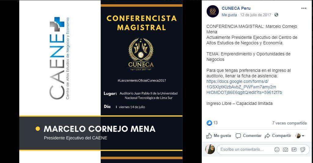 Convenientemente el Caene no coloca la fotografía de su presidente a la hora de promocionar su taller. Imagen: Facebook Caene