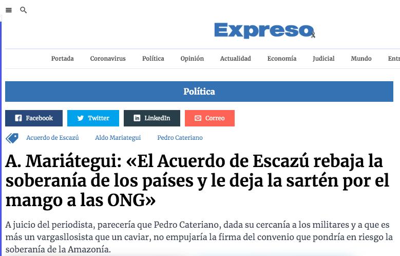 """Aldito y su excusa para todo: """"son caviares oenegeros"""". Imagen: Expreso"""